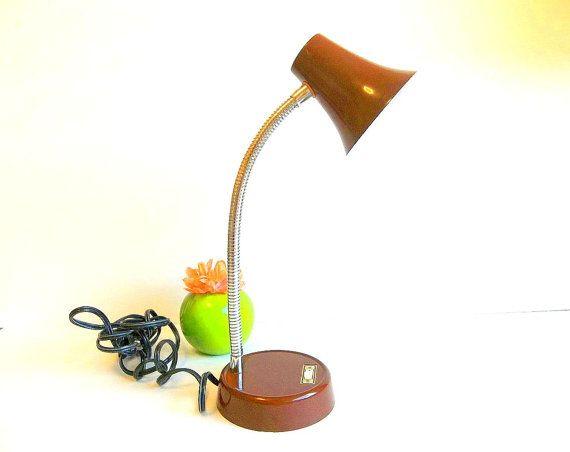 Vintage Gooseneck Lamp, Mid Century Retro chocolate brown desk lamp, adjustable, office decor, reading task light, industrial lighting