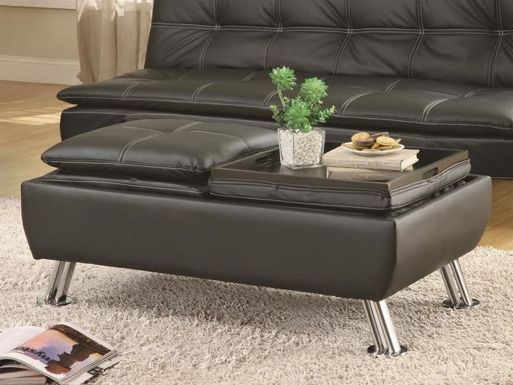 Black Faux Leather Storage Ottoman w/ Reversible Tray Tops by Coaster  www.ashleydeals. - 19 Best Images About Ottomans & Footstools On Pinterest Hercules
