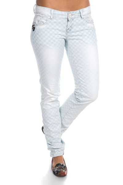 Faded Check Print Denim Jeans @ Everything5pounds.com