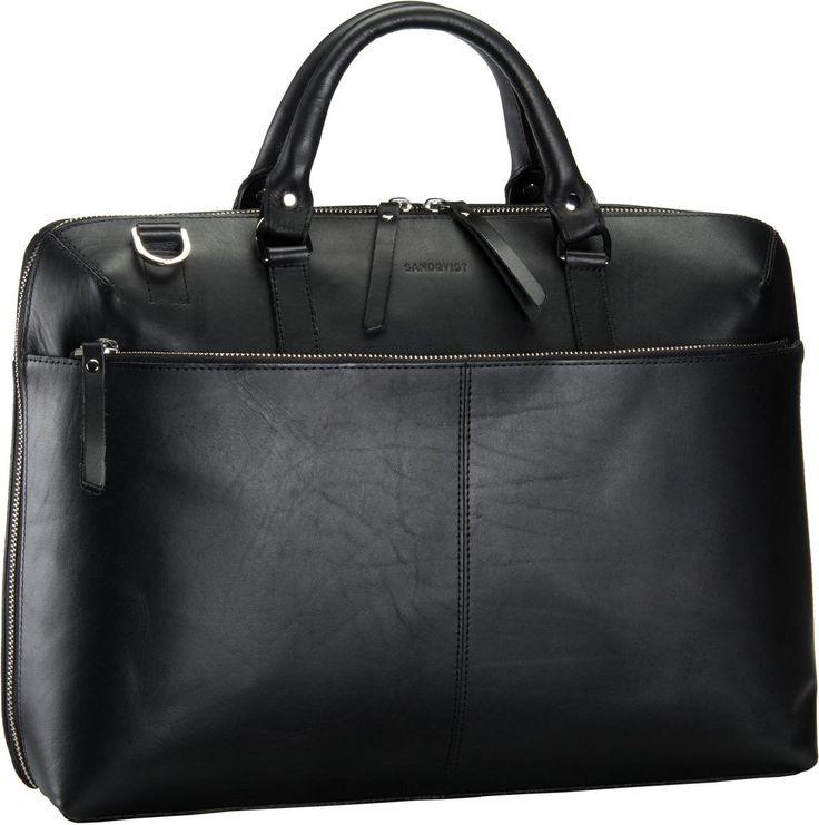 Sandqvist Dustin Leather Briefcase Black - Aktentasche