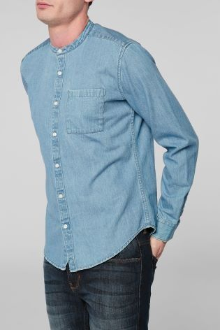 This denim shirt is a summer statement, the return of the grandad collar is upon us!