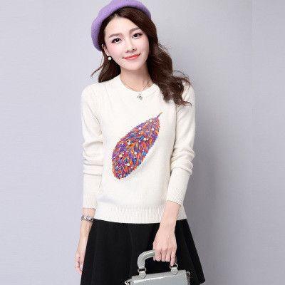 Wmwmnu Fashion Women's Cashmere Sweaters Winter Female Long-Sleeved Knitted Soft Warm Wool Pullovers Women's beading Sweater 547