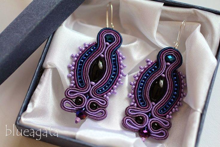 blueagata: Blue & purple soutache earrings