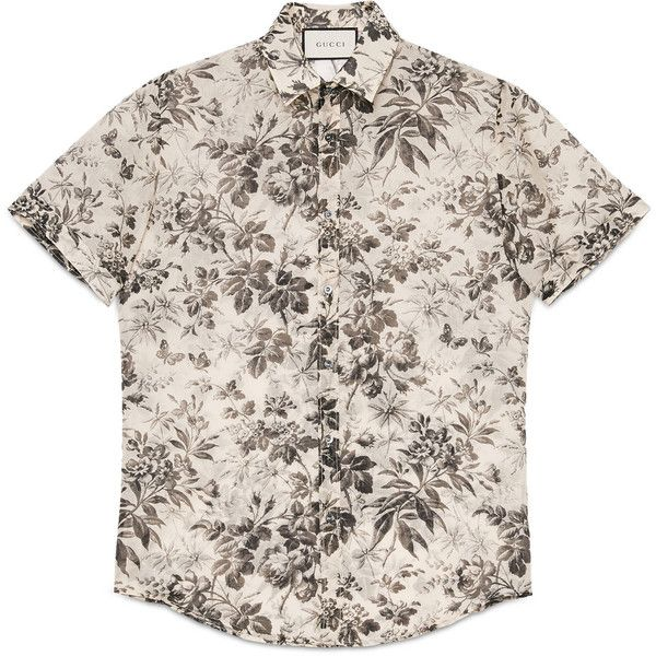 Gucci Herbarium Print Cotton Duke Shirt ($385) ❤ liked on Polyvore featuring men's fashion, men's clothing, men's shirts, men's casual shirts, tops, men, shirts, boy, cotton and ready to wear
