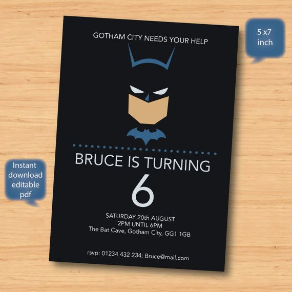 batman invite  SELF EDITABLE PDF  5 x 7 inch Customisable
