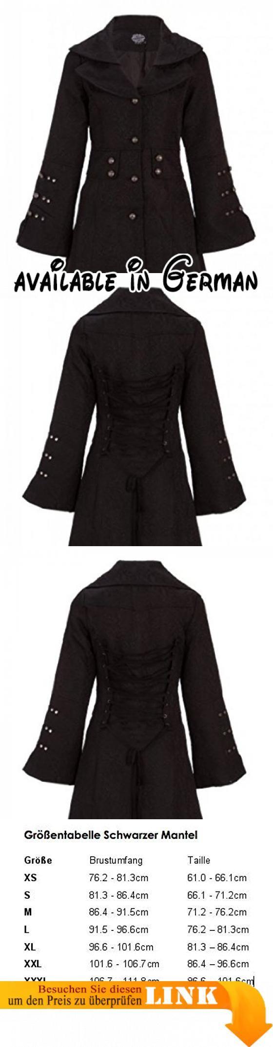 eleganter schwarzer viktorianischer winter mantel jacke mit schnrung und verzierungen gr m schwarzer - Mantel Der Ideen Mit Uhr Verziert