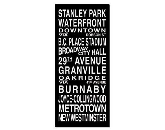 Vancouver Destination Roll / Subway Scroll / Tram Banner / Bus Schedule 22in x  50in - Ready to Hang