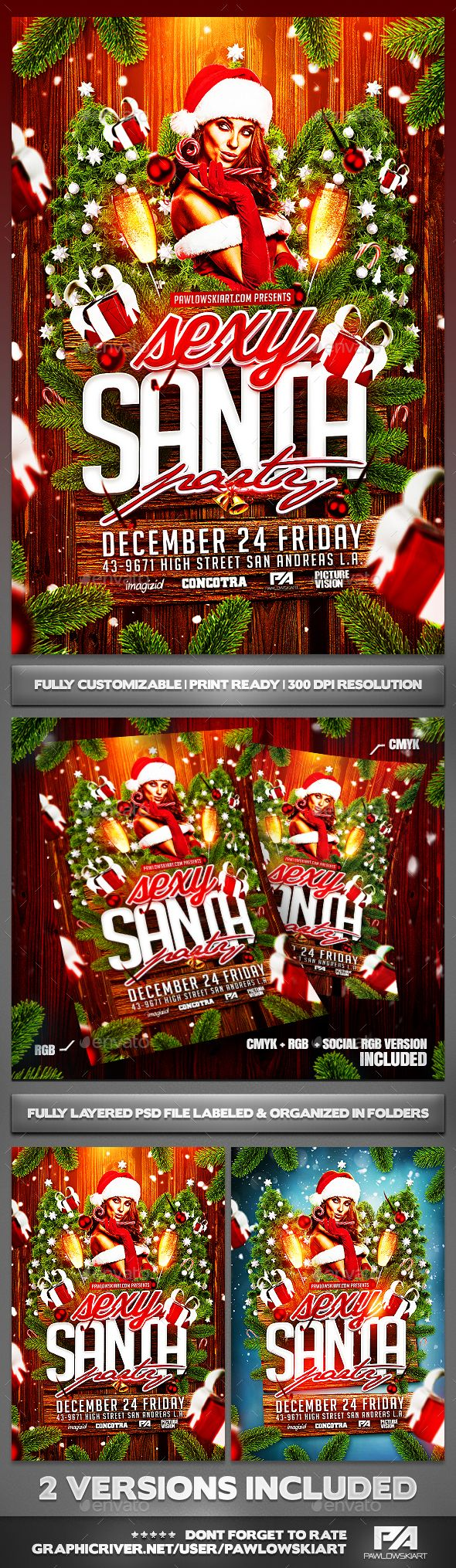 Sexy Santa Party Christmas Flyer Template - Holidays Events