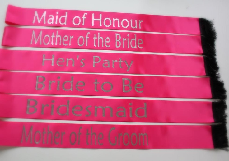 Sashes for Hens Night #wedding #hens