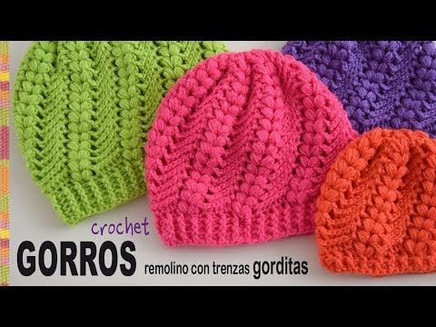 Gorros remolino con trenzas gorditas tejidos a crochet - Tejiendo Perú - YouTube