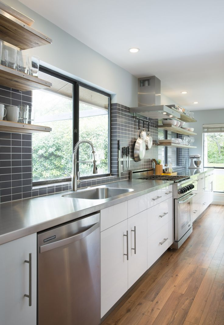White And Grey Galley Kitchen modern white & grey galley kitchen | cultivate #kitchen