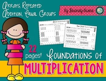 Foundation of Multiplication Practice Sheets:  Arrays, Repeated Addition, Equal Groups  22 Printable Practice Sheets!  Multiple opportunities to practice and reinforce the concrete concept of multiplication.