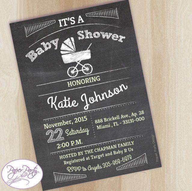 Baby Shower Boy Invitation |  Stroller Chalkboard Baby Boy Shower Invitation |  Boy Baby Shower Invite - N.1971 by PaperPartyDesignUS on Etsy