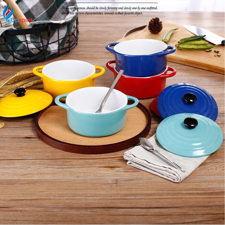 2017 New Arrival 6 Inch Solid Ceramic Soup Bowl With Cover Use for Microwave Oven Modern Style Tureens Noodles Bowl With Handles