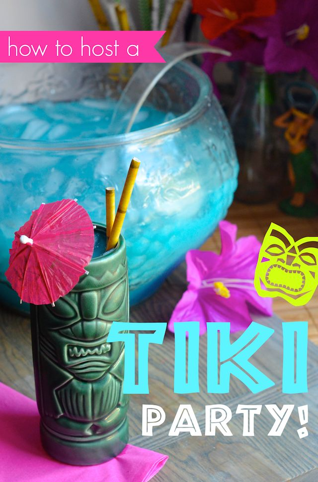 Decoration, cocktail, and menu ideas to host an retro Tiki theme party at home.