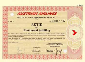 AUSTRIAN AIRLINES Österreichische Luftverkehrs-AG Aktie 1.000 S Juni 1988.