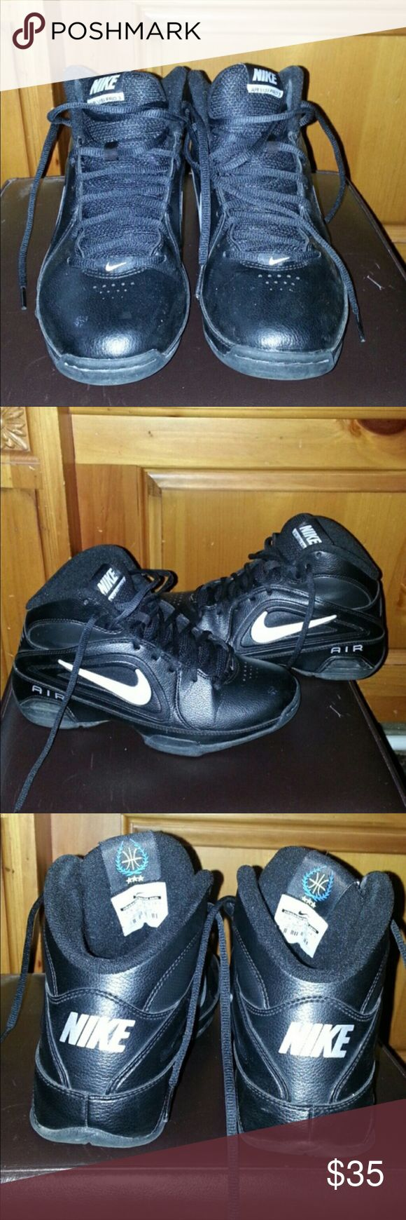 Nike  mid top black and white leather shoes L7 Used but still good condition . No odor or rips just not my style. They look good w skinny jeans. No box sorry Nike Shoes Sneakers