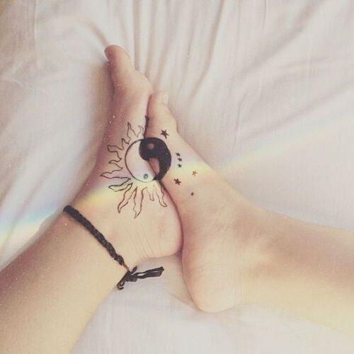 Sun and Moon Yin Yang Friendship Tattoos