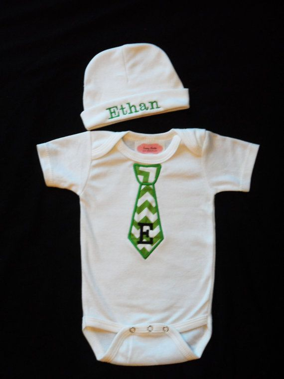 Monogram Baby Boy Clothes One-Piece with Tie and Personalized Beanie Hat Chevron Baby Boy Take Home Outfit on Etsy, $26.00