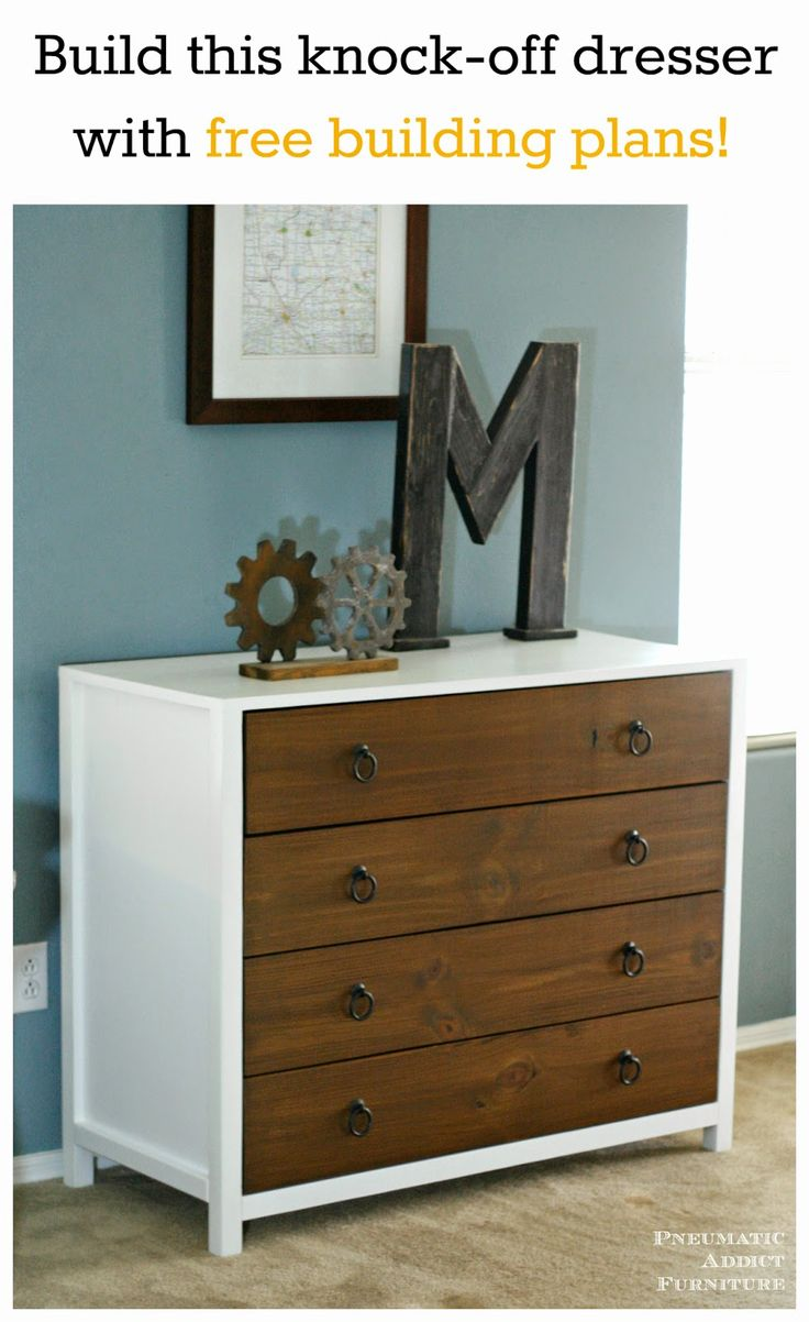 Build this designer knock off dresser with step by step tutorial and free building plans must - Modern furniture knock offs ...
