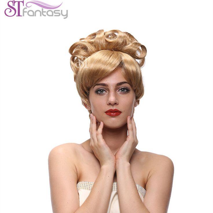 ">>>Order2016 New Fashion 14"" Princess Blonde Cinderella Style Gold Wigs Using Kenakalon Synthetic Hair FREE WIG CAP"
