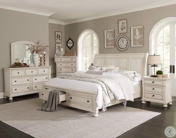 Bethel Wire Brushed White Cal King Storage Sleigh Platform Bed White Bedroom Set Master Bedroom Furniture White Master Bedroom