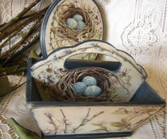 """Купить Пасхальная корзинка и панно """"Вербное воскресенье"""" - корзинка, панно, лукошко, картина, Пасха"""