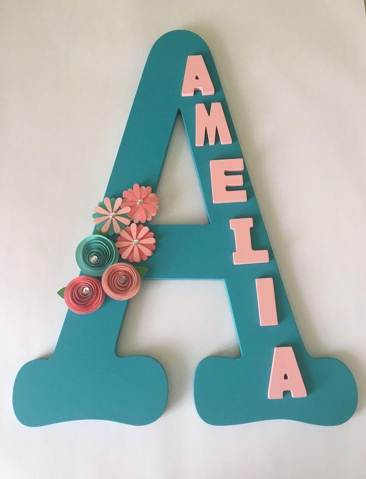Baby Shower gift 14 inch Fancy Script Rhinestone  Decorative Wall Letters Nursery Decor