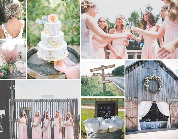 The rustic chic wedding with sweet blush bridesmaids. Credits in comment.