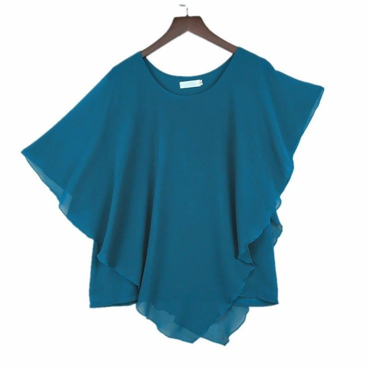 Plus size S-6XL Ladies Chiffon Blouses Batwing Asymmetric Sleeves Ocean Blue #Unbranded #Blouse #Casual