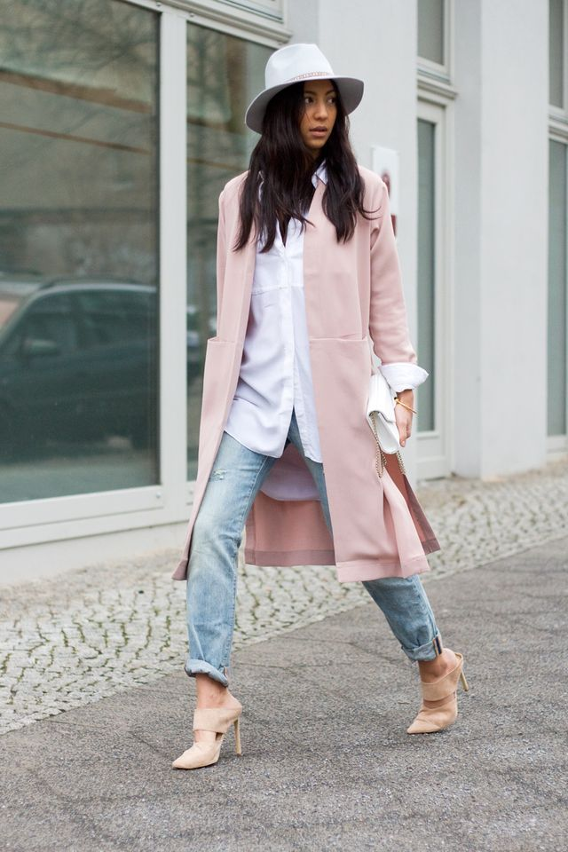 This rose pink duster coat from Forever 21 makes the classic white shirt jean combo look so feminine. Soft pink is a great complimentary colour so check out sheathbeneath.com for great colour combinations and layering ideas with Camis and slips. Camis $54.95 slips $64.95