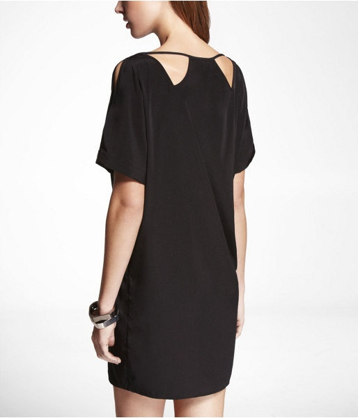 Express Womens Cutout And Cold Shoulder Tunic Dress Pitch Black, X