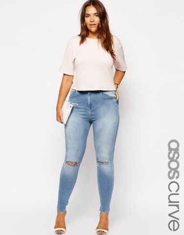 ASOS Curve | ASOS CURVE Exclusive Ridley Skinny Jean In Watercolour Blue With Ripped Knee's
