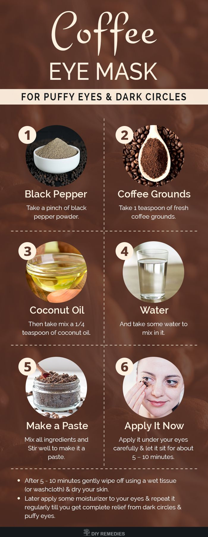 DIY Coffee Eye Mask for Puffy Eyes and Dark Circles Coffee grounds has antioxidant and anti-inflammatory properties that reduce your inflammation of your eyes and tighten the skin. Black pepper stimulates the blood circulation and proper oxygen supply to the eyes. Pin now, thank me later!