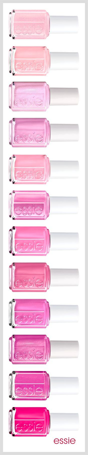 There are a couple girls here that just looove the pinks. Pretty pink nail colors. Essie.