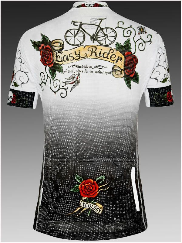 """Rose Tattoo"" women's cycling jersey from Cycology. For seeker of soul, solace and the perfect road. It's out there and we find it."
