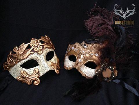 Couple Brocade lace vs Roman Gladiator Thor mask – Masquerade Mask Studio