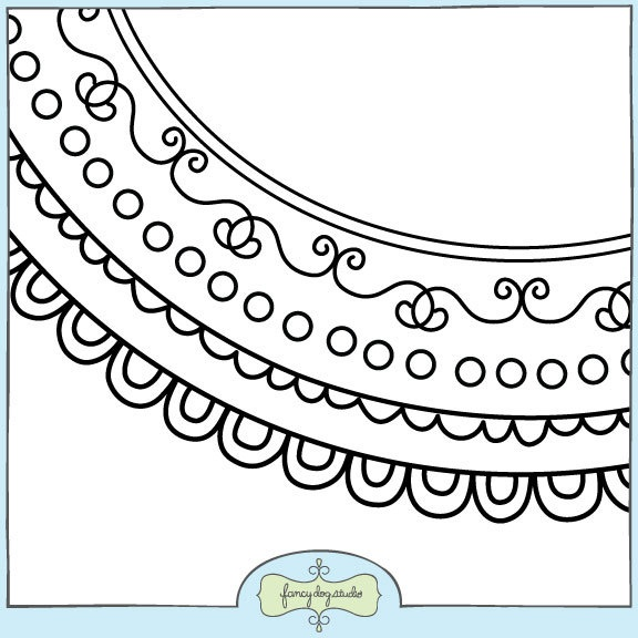 Round Doodle Border Clip Art Instant Digital Download Frames