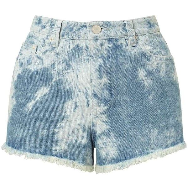Miss Selfridge Blue Tie Dye Denim Shorts ($14) ❤ liked on Polyvore featuring shorts, mid blue, tye dye shorts, jean shorts, tie die shorts, blue jean short shorts and miss selfridge