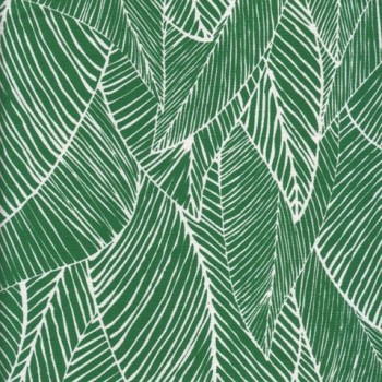 Fabric combining two of the year's key trends - emerald green and botanical patterns.
