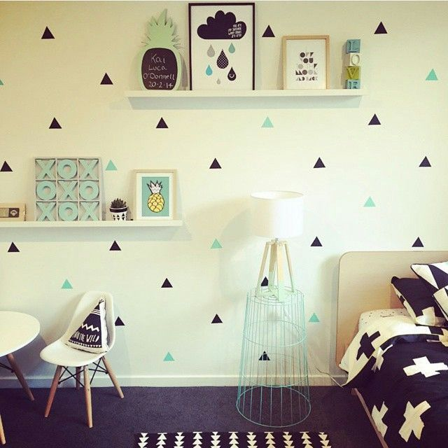 Mint And Black Triangle Decals Baby Wallpaper Kids Room