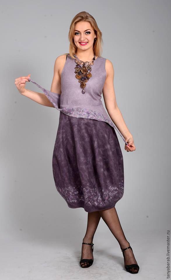 """Купить Платье - сарафан - баллон """" Аметист"""" войлок - сиреневый, оригинальный сарафан, платье - баллон"""