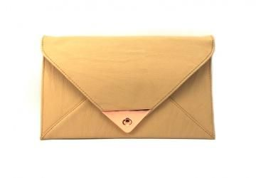 triangle feature clasp clutch by Adorne: nude