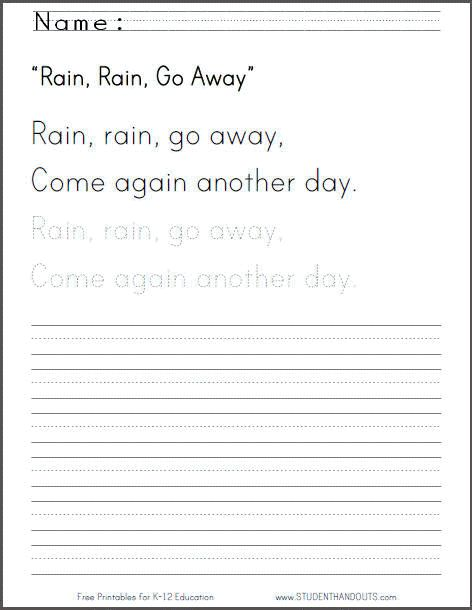 rain rain go away nursery rhyme worksheet with handwriting practice free to print pdf. Black Bedroom Furniture Sets. Home Design Ideas