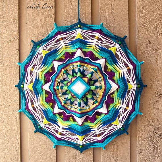 Mandala Ojo de dios / Gods eye Long story 16 sided by LubaCainArt, $150.00