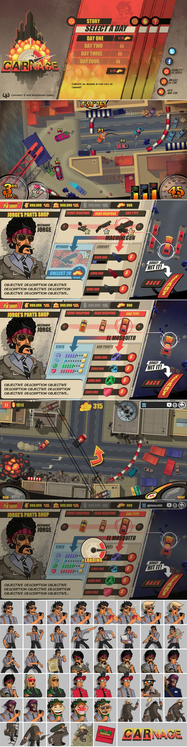 Carnage is a single player racing game you can play online, for free!  http://www.grinwise.com/portfolios/carnage/