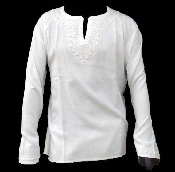 Mens Handmade White Kurta Shirt Tunic Top Cotton Chikankaari