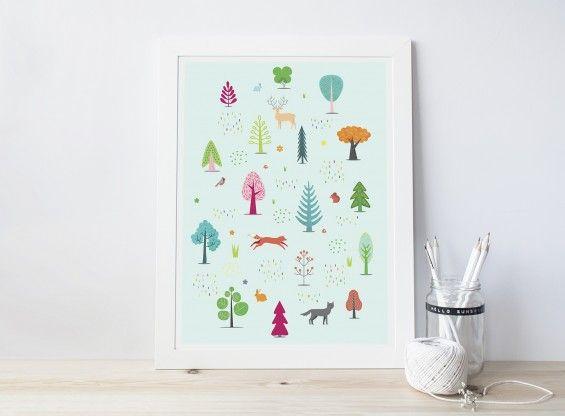 Autorska ilustracja WOODLAND, miętowy - Printlove - grafiki do wnętrz, ilustracje dla dzieci, plakaty. -