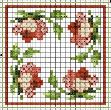 Flower biscornu pattern