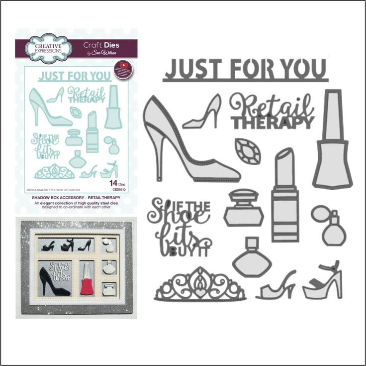 Retail Therapy metal die set Creative Expressions frames cutting Dies shoes word #CreativeExpressions